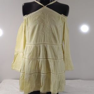 Roaman's Yellow Crochet Trim Blouse NEW